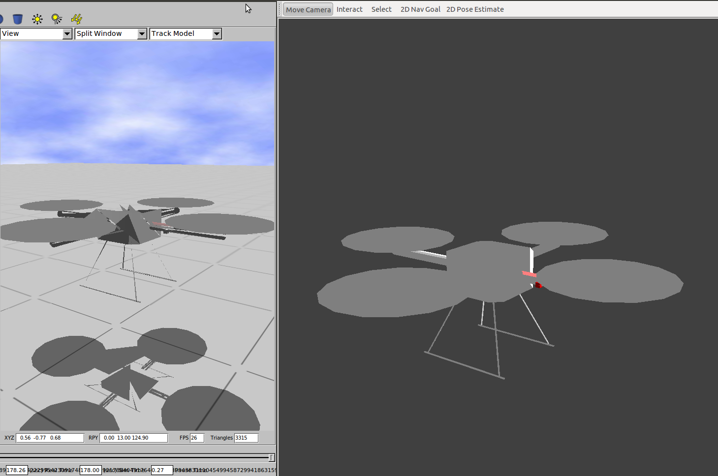 Exported with 2.61, gazebo left, rviz right