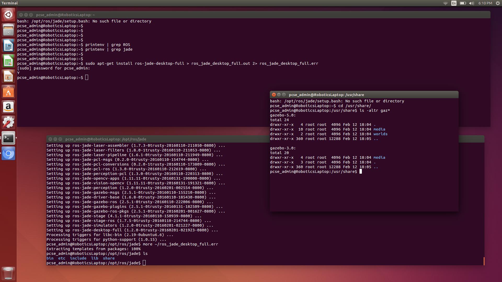 ros-jade-desktop-full not setting up ros or gazebo setup files