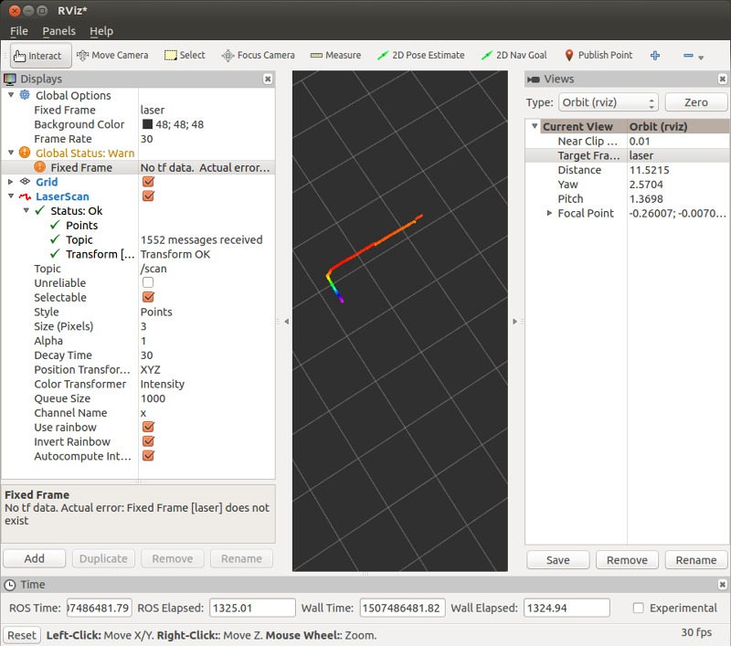 How to build a 3D model in RViz using data from a Sick